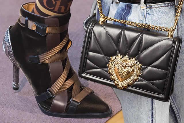 Tendencias de zapatos y bolsos en pasarelas internacionales